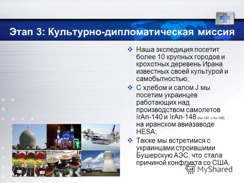 Этап 3: Культурно-дипломатическая миссия Наша экспедиция посетит более 10 крупных городов и крохотных деревень Ирана известных своей культурой и самобытностью; С хлебом и салом J мы посетим украинцев работающих над производством самолетов IrAn-140 и