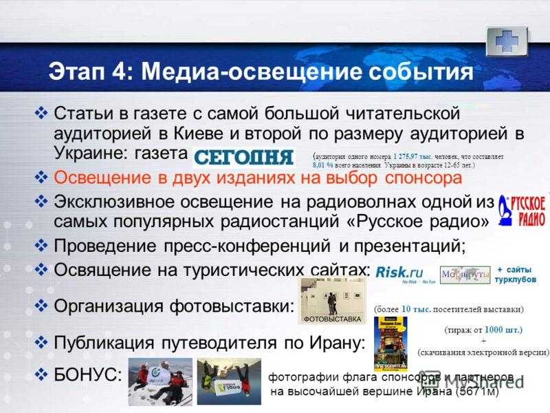 Этап 4: Медиа-освещение события Статьи в газете с самой большой читательской аудиторией в Киеве и второй по размеру аудиторией в Украине: газета Освещение в двух изданиях на выбор спонсора Эксклюзивное освещение на радиоволнах одной из самых популярн