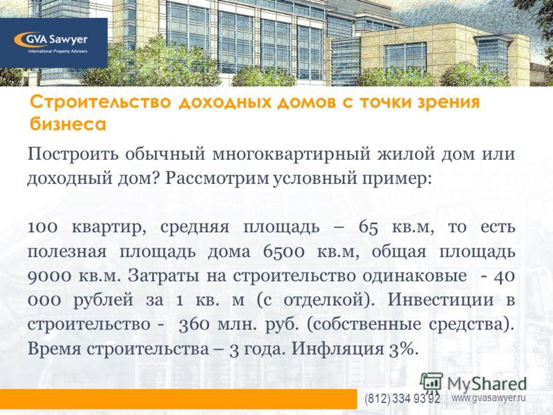 (812) 334 93 92 www.gvasawyer.ru Строительство доходных домов с точки зрения бизнеса Построить обычный многоквартирный жилой дом или доходный дом? Рассмотрим условный пример: 100 квартир, средняя площадь – 65 кв.м, то есть полезная площадь дома 6500