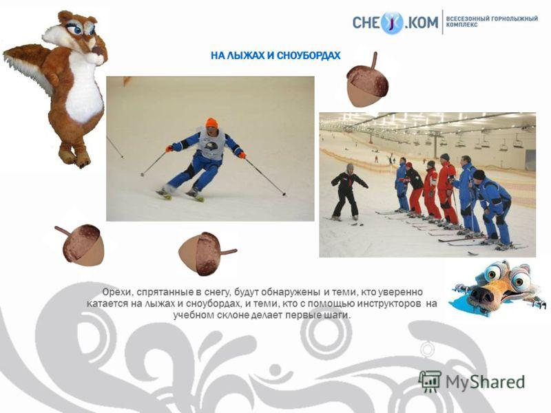 Орехи, спрятанные в снегу, будут обнаружены и теми, кто уверенно катается на лыжах и сноубордах, и теми, кто с помощью инструкторов на учебном склоне делает первые шаги. НА ЛЫЖАХ И СНОУБОРДАХ