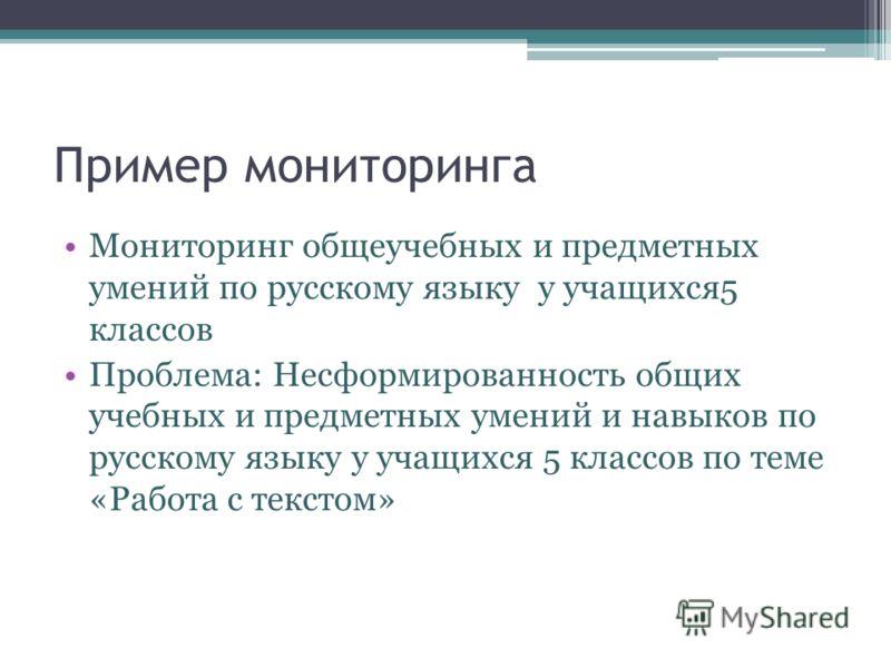 Пример мониторинга Мониторинг общеучебных и предметных умений по русскому языку у учащихся5 классов Проблема: Несформированность общих учебных и предметных умений и навыков по русскому языку у учащихся 5 классов по теме «Работа с текстом»