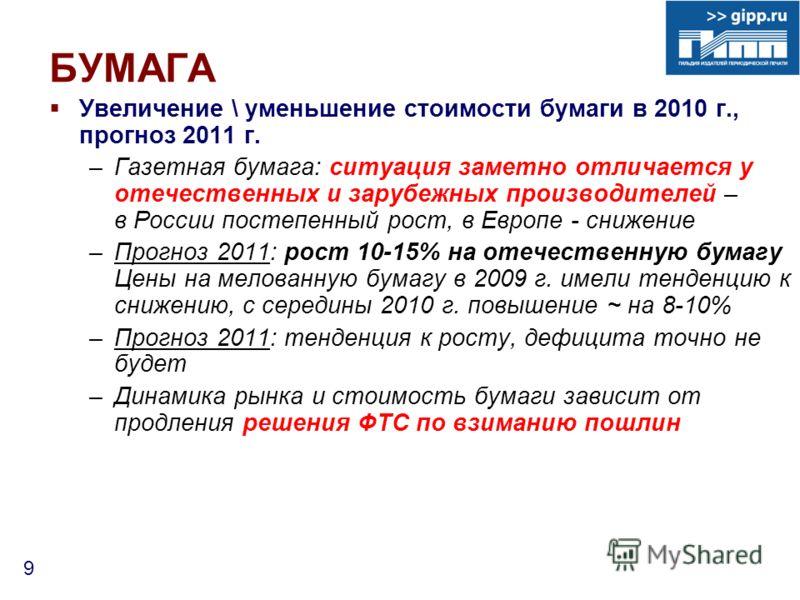 9 БУМАГА Увеличение \ уменьшение стоимости бумаги в 2010 г., прогноз 2011 г. –Газетная бумага: ситуация заметно отличается у отечественных и зарубежных производителей – в России постепенный рост, в Европе - снижение –Прогноз 2011: рост 10-15% на отеч