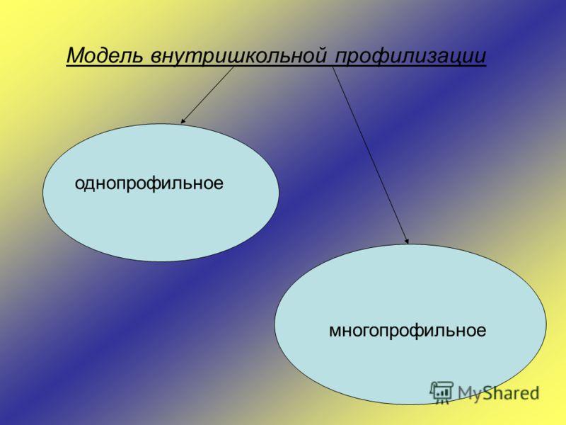 Модель внутришкольной профилизации однопрофильное многопрофильное