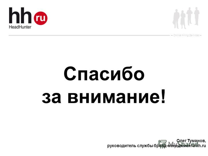 Online Hiring Services Спасибо за внимание! Олег Туманов, руководитель службы бренд-менеджмента hh.ru