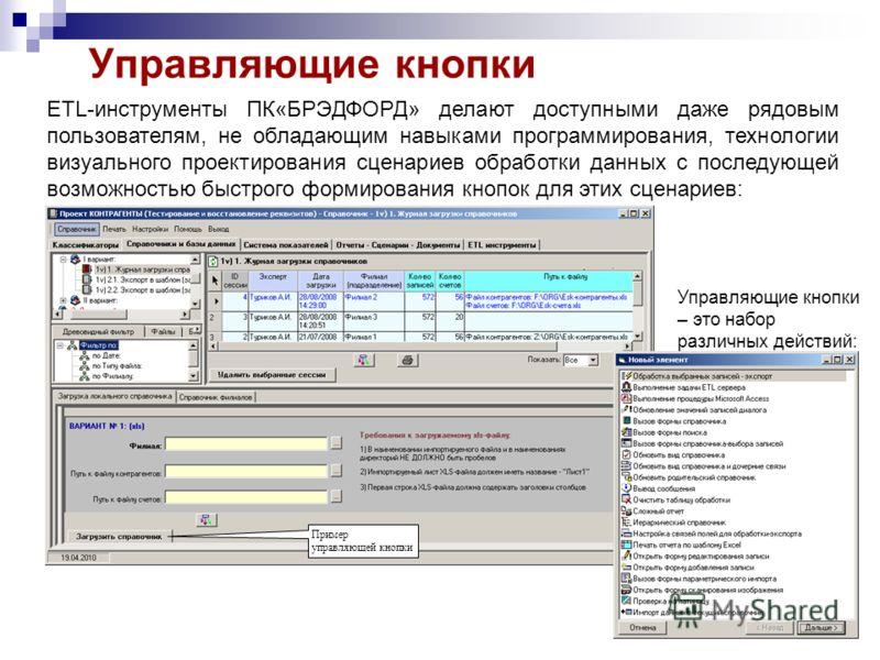 Управляющие кнопки ETL-инструменты ПК«БРЭДФОРД» делают доступными даже рядовым пользователям, не обладающим навыками программирования, технологии визуального проектирования сценариев обработки данных с последующей возможностью быстрого формирования к