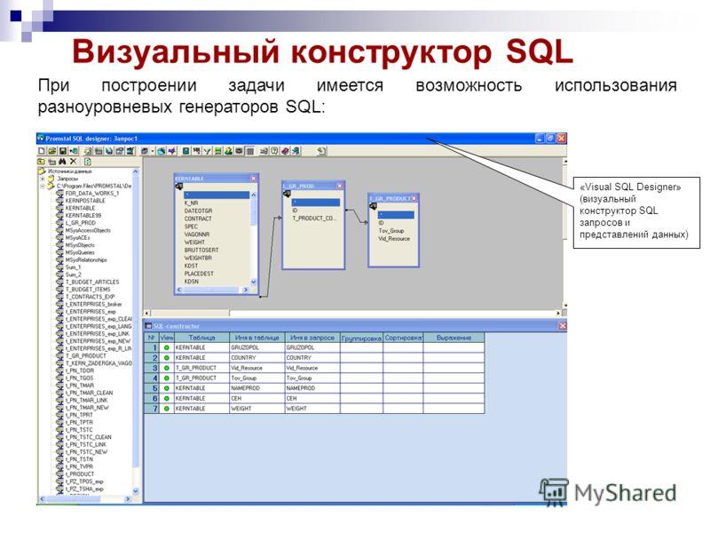 Визуальный конструктор SQL При построении задачи имеется возможность использования разноуровневых генераторов SQL: «Visual SQL Designer» (визуальный конструктор SQL запросов и представлений данных)