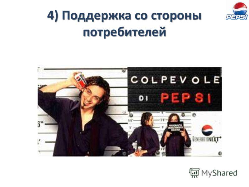 4) Поддержка со стороны потребителей