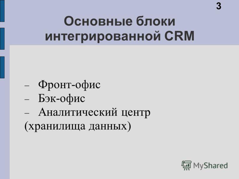 Основные блоки интегрированной CRM Фронт-офис Бэк-офис Аналитический центр (хранилища данных) 3