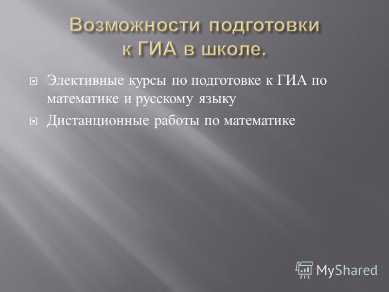 Элективные курсы по подготовке к ГИА по математике и русскому языку Дистанционные работы по математике