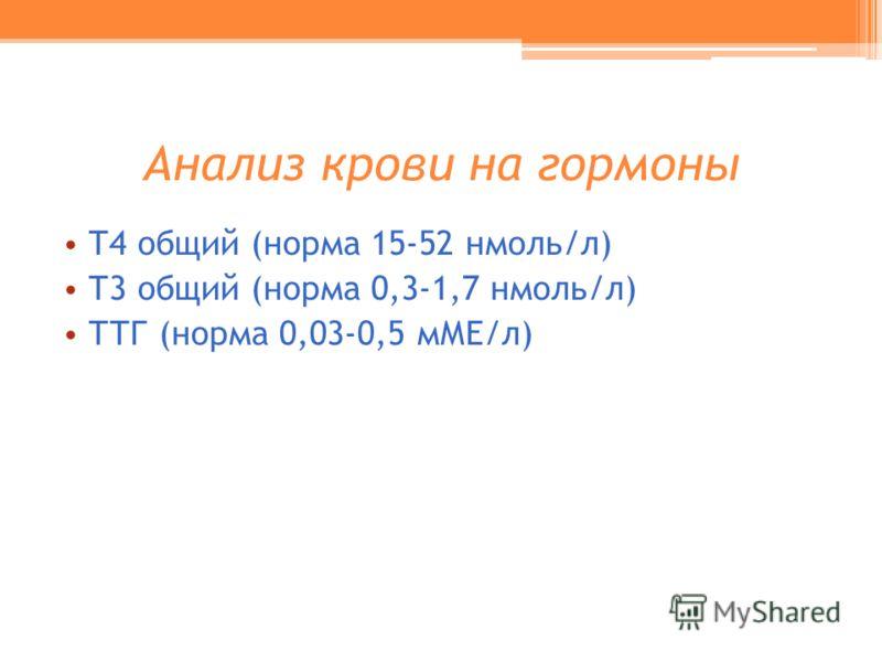 Анализ крови на гормоны Т4 общий (норма 15-52 нмоль/л) Т3 общий (норма 0,3-1,7 нмоль/л) ТТГ (норма 0,03-0,5 мМЕ/л)