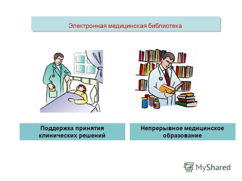 Электронная медицинская библиотека Поддержка принятия клинических решений Непрерывное медицинское образование
