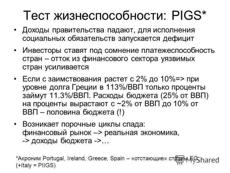 Тест жизнеспособности: PIGS* Доходы правительства падают, для исполнения социальных обязательств запускается дефицит Инвесторы ставят под сомнение платежеспособность стран – отток из финансового сектора уязвимых стран усиливается Если с заимствования