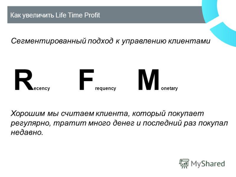 Как увеличить Life Time Profit Сегментированный подход к управлению клиентами R ecency F requency M onetary Хорошим мы считаем клиента, который покупает регулярно, тратит много денег и последний раз покупал недавно.