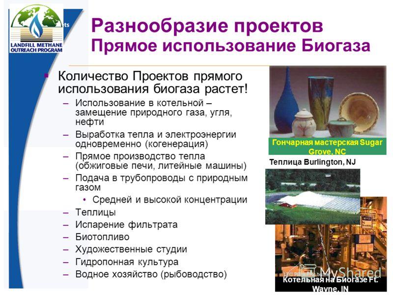 45 Разнообразие проектов Прямое использование Биогаза Количество Проектов прямого использования биогаза растет! –Использование в котельной – замещение природного газа, угля, нефти –Выработка тепла и электроэнергии одновременно (когенерация) –Прямое п