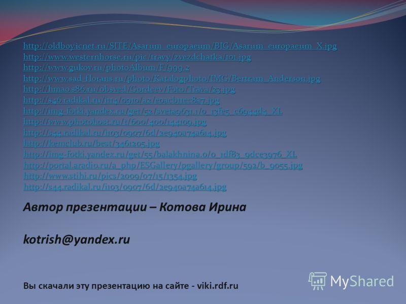 Автор презентации – Котова Ирина kotrish@yandex.ru Вы скачали эту презентацию на сайте - viki.rdf.ru http://oldboy.icnet.ru/SITE/Asarum_europaeum/BIG/Asarum_europaeum_X.jpg http://www.westernhorse.ru/pic/travy/zvezdchatka/101.jpg http://www.gukov.ru/