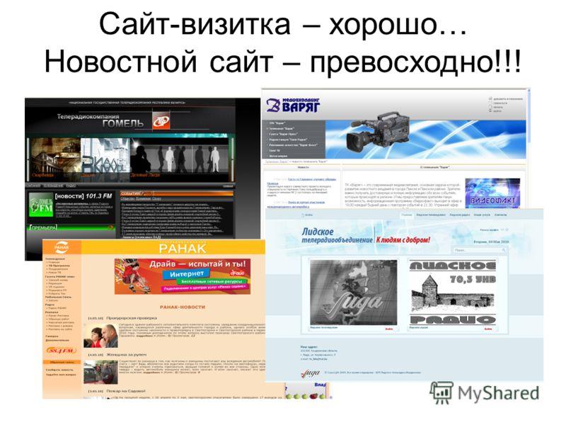 Сайт-визитка – хорошо… Новостной сайт – превосходно!!!
