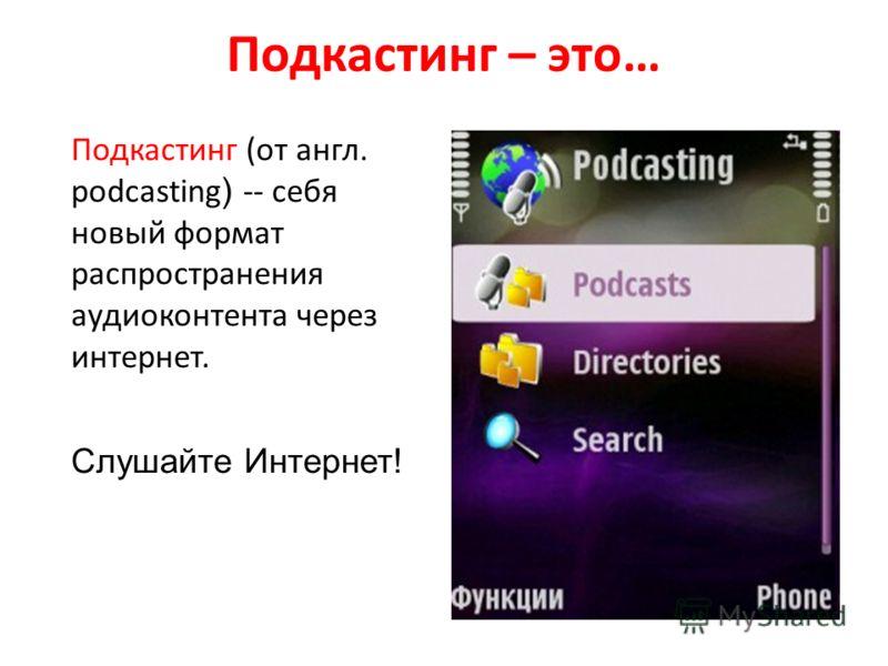 Подкастинг – это… Подкастинг (от англ. podcasting ) -- себя новый формат распространения аудиоконтента через интернет. Слушайте Интернет!