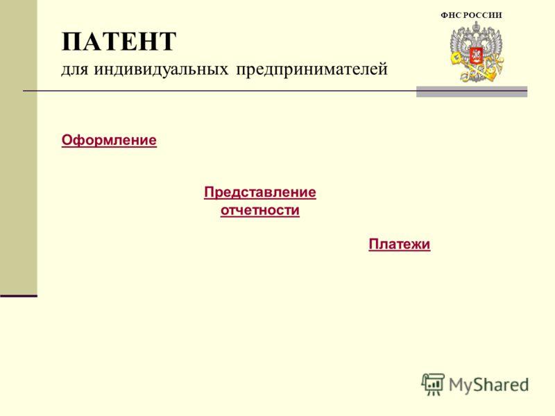 ПАТЕНТ для индивидуальных предпринимателей Оформление Представление отчетности Платежи ФНС РОССИИ