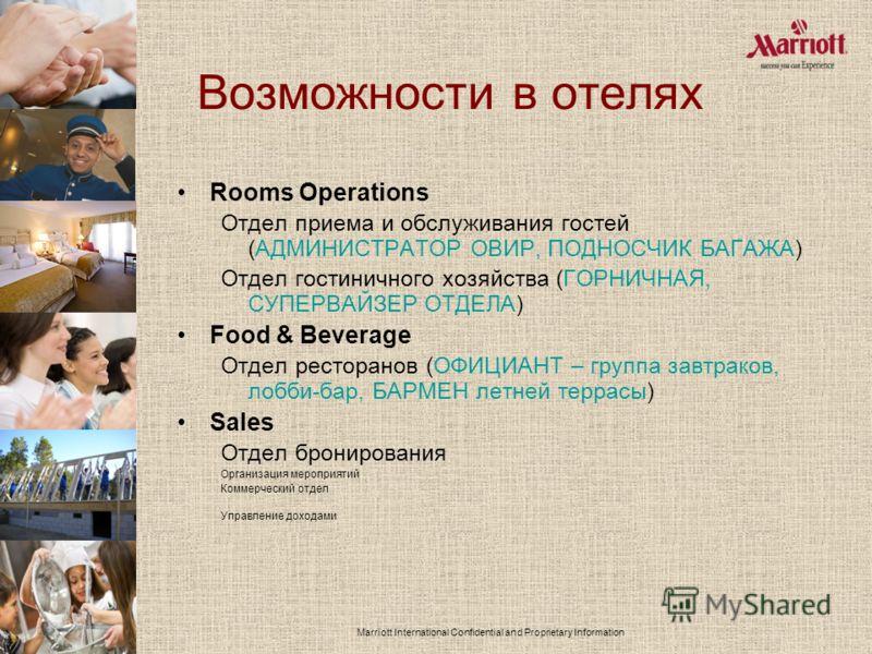 Marriott International Confidential and Proprietary Information Возможности в отелях Rooms Operations Отдел приема и обслуживания гостей (АДМИНИСТРАТОР ОВИР, ПОДНОСЧИК БАГАЖА) Отдел гостиничного хозяйства (ГОРНИЧНАЯ, СУПЕРВАЙЗЕР ОТДЕЛА) Food & Bevera