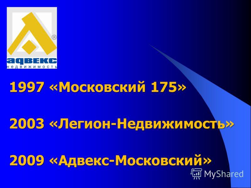 1997 «Московский 175» 2003 «Легион-Недвижимость» 2009 «Адвекс-Московский»