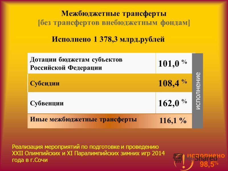 Межбюджетные трансферты [без трансфертов внебюджетным фондам] Исполнено 1 378,3 млрд.рублей Иные межбюджетные трансферты 162,0 % Субвенции 108,4 % Субсидии 101,0 % Дотации бюджетам субъектов Российской Федерации исполнение 116,1 % Реализация мероприя