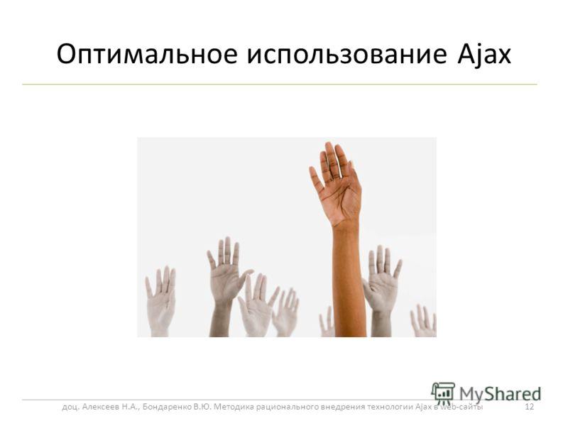 Оптимальное использование Ajax 12 доц. Алексеев Н.А., Бондаренко В.Ю. Методика рационального внедрения технологии Ajax в web-сайты