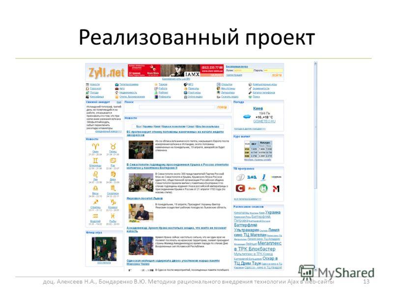 Реализованный проект 13 доц. Алексеев Н.А., Бондаренко В.Ю. Методика рационального внедрения технологии Ajax в web-сайты