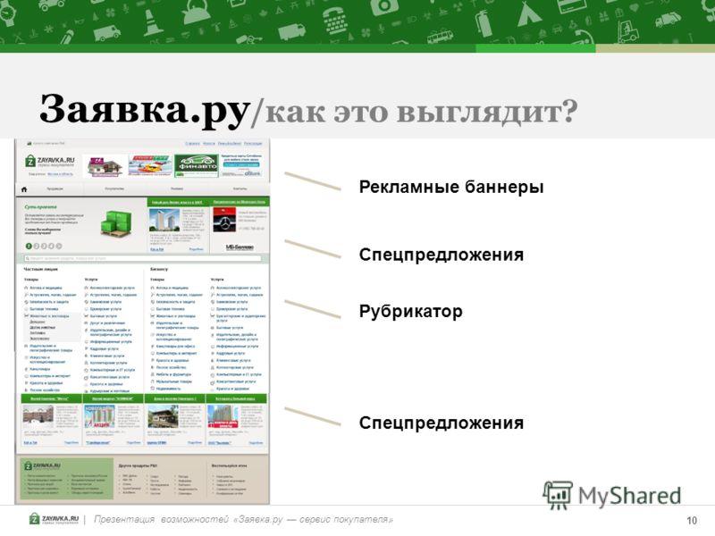| Презентация возможностей «Заявка.ру сервис покупателя» 10 Заявка.ру /как это выглядит? Рекламные баннеры Спецпредложения Рубрикатор Спецпредложения