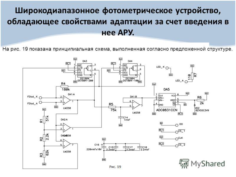 Широкодиапазонное фотометрическое устройство, обладающее свойствами адаптации за счет введения в нее АРУ. На рис. 19 показана принципиальная схема, выполненная согласно предложенной структуре.