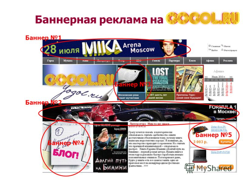 Баннерная реклама на Баннер 1 Баннер 2 Баннер 3 Баннер 4 Баннер 5
