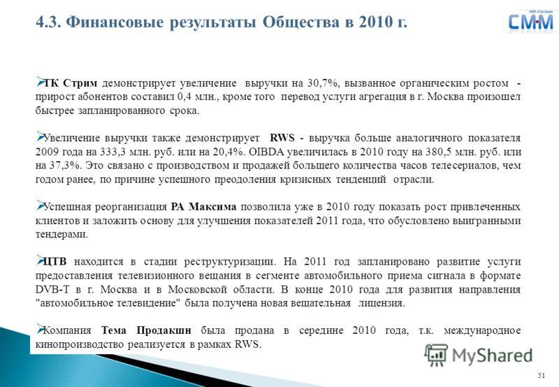 Логотип ДЗК 51 ТК Стрим демонстрирует увеличение выручки на 30,7%, вызванное органическим ростом - прирост абонентов составил 0,4 млн., кроме того перевод услуги агрегация в г. Москва произошел быстрее запланированного срока. Увеличение выручки также