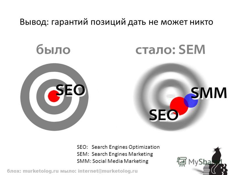 Вывод: гарантий позиций дать не может никто SEO: Search Engines Optimization SEM: Search Engines Marketing SMM: Social Media Marketing