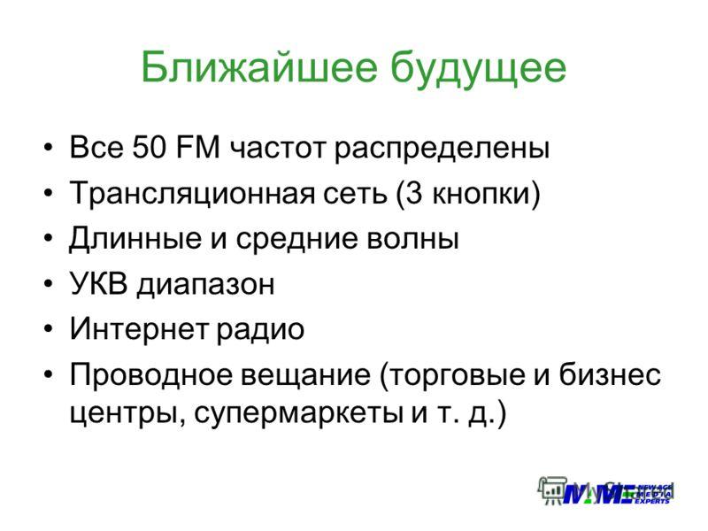 Ближайшее будущее Все 50 FM частот распределены Трансляционная сеть (3 кнопки) Длинные и средние волны УКВ диапазон Интернет радио Проводное вещание (торговые и бизнес центры, супермаркеты и т. д.)
