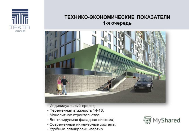 ТЕХНИКО-ЭКОНОМИЧЕСКИЕ ПОКАЗАТЕЛИ 1-я очередь - Индивидуальный проект; - Переменная этажность 14-16; - Монолитное строительство; - Вентилируемая фасадная система; - Современные инженерные системы; - Удобные планировки квартир.
