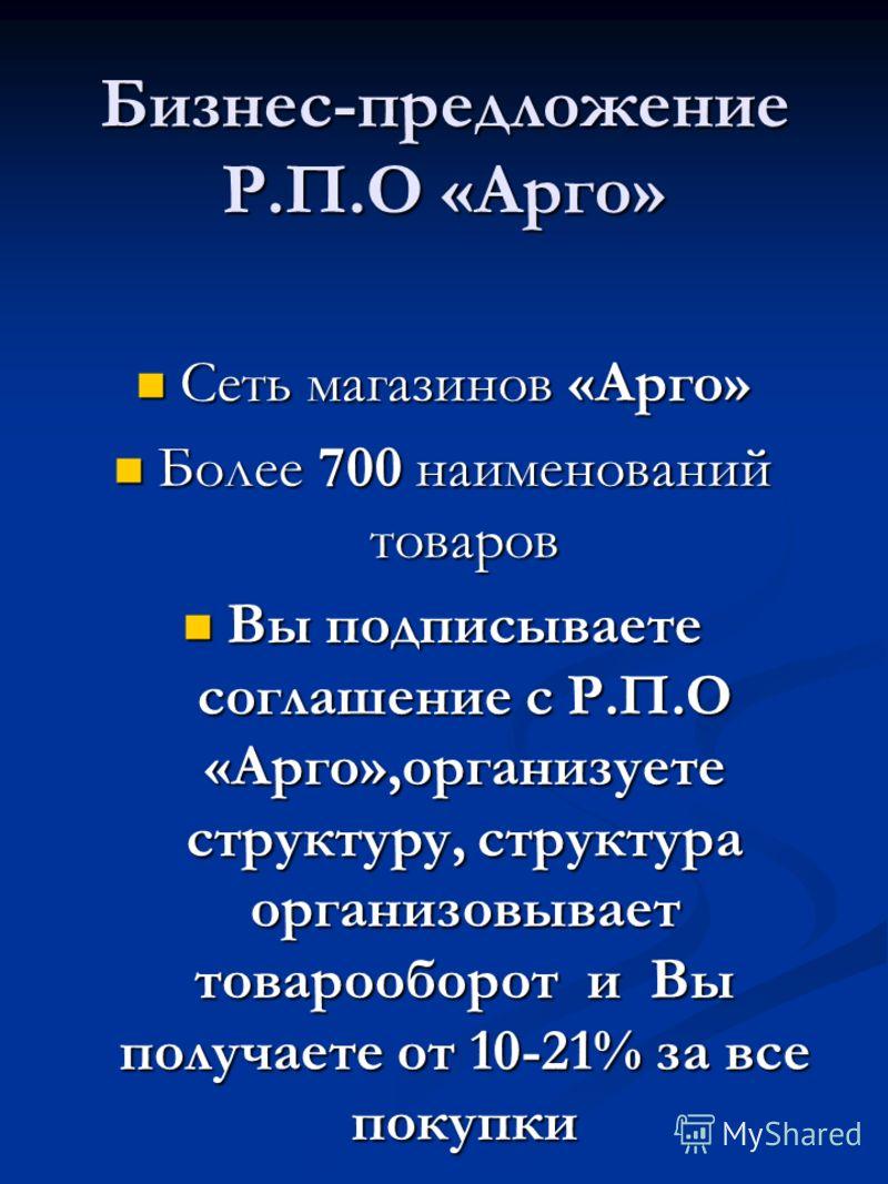 Бизнес-предложение Р.П.О «Арго» Сеть магазинов «Арго» Сеть магазинов «Арго» Более 700 наименований товаров Более 700 наименований товаров Вы подписываете соглашение с Р.П.О «Арго»,организуете структуру, структура организовывает товарооборот и Вы полу