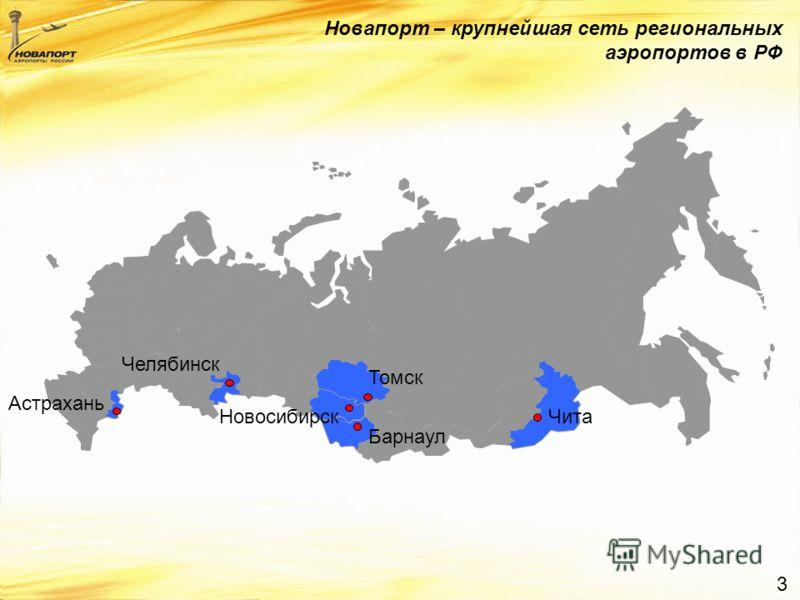 3 Новапорт – крупнейшая сеть региональных аэропортов в РФ Астрахань Челябинск Томск Барнаул НовосибирскЧита