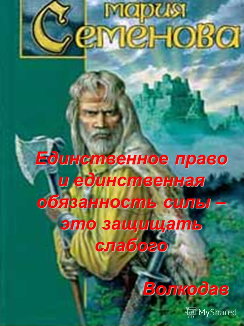 Единственное право и единственная обязанность силы – это защищать слабого Волкодав