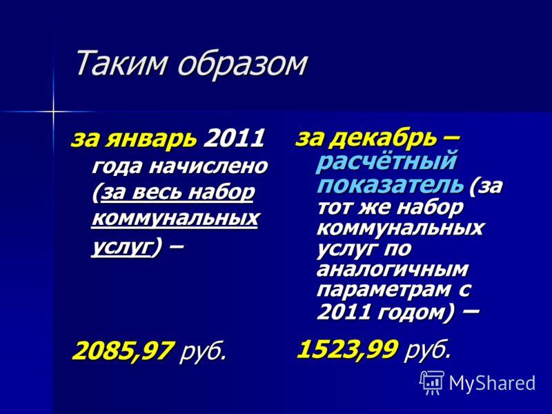 Таким образом за январь 2011 года начислено (за весь набор коммунальных услуг) – 2085,97 руб. за декабрь – расчётный показатель (за тот же набор коммунальных услуг по аналогичным параметрам с 2011 годом) – 1523,99 руб.