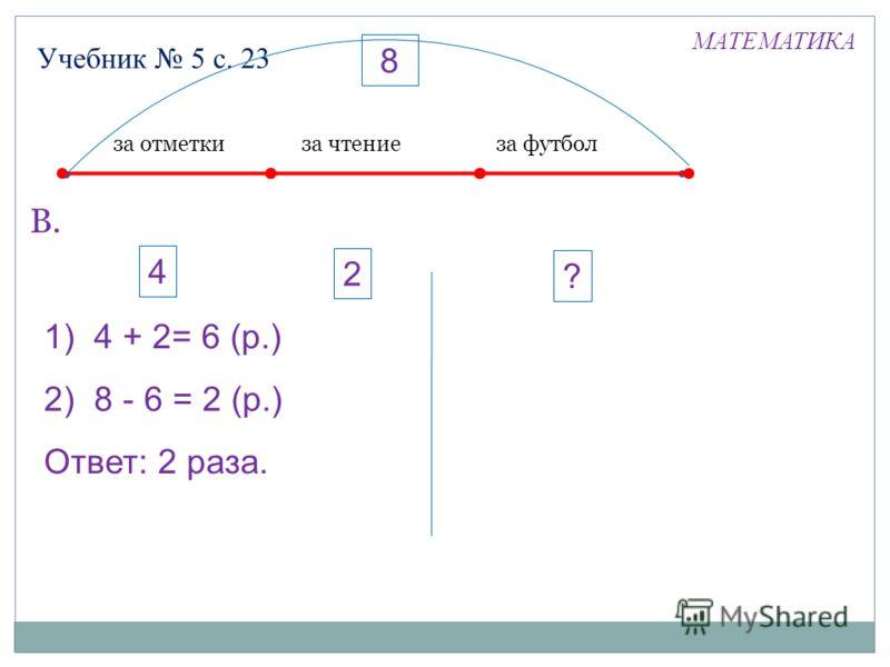 Учебник 5 с. 23 В. МАТЕМАТИКА за отметкиза чтениеза футбол 1) 4 + 2= 6 (р.) 2) 8 - 6 = 2 (р.) Ответ: 2 раза. 4 2 8 ?