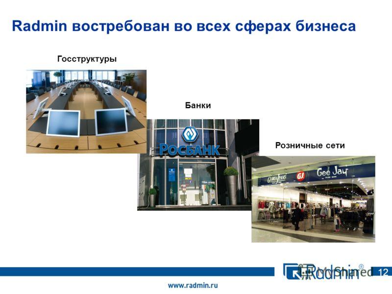 Radmin востребован во всех сферах бизнеса 1212 Госструктуры Банки Розничные сети