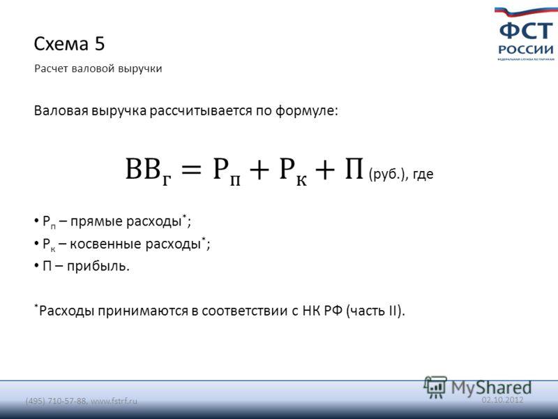 20.07.2012 (495) 710-57-88, www.fstrf.ru Схема 5 Расчет валовой выручки