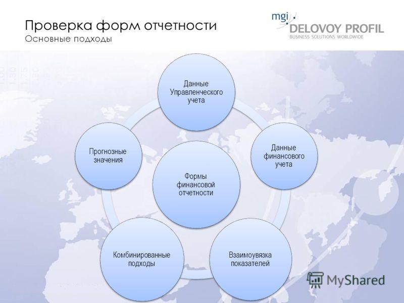 Проверка форм отчетности Основные подходы Формы финансовой отчетности Данные Управленческого учета Данные финансового учета Взаимоувязка показателей Комбинированные подходы Прогнозные значения