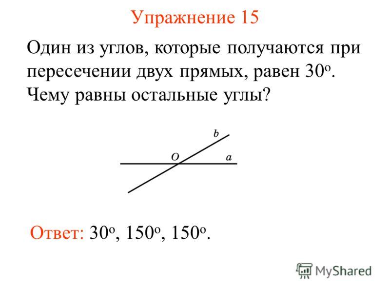 Упражнение 15 Один из углов, которые получаются при пересечении двух прямых, равен 30 о. Чему равны остальные углы? Ответ: 30 о, 150 o, 150 o.