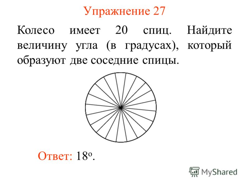 Упражнение 27 Колесо имеет 20 спиц. Найдите величину угла (в градусах), который образуют две соседние спицы. Ответ: 18 о.