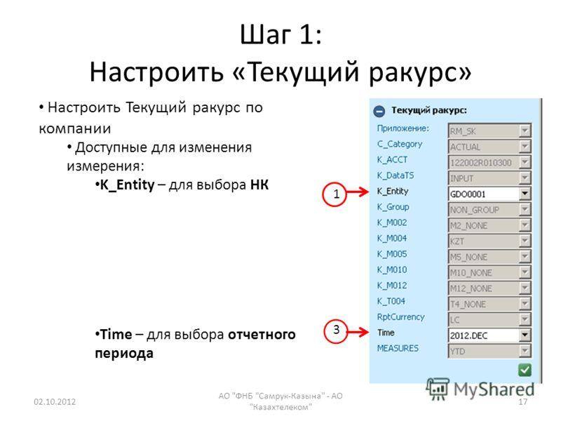 Шаг 1: Настроить «Текущий ракурс» 18.07.2012 АО ФНБ Самрук-Казына - АО Казахтелеком 17 Настроить Текущий ракурс по компании Доступные для изменения измерения: K_Entity – для выбора НК Time – для выбора отчетного периода 1 3
