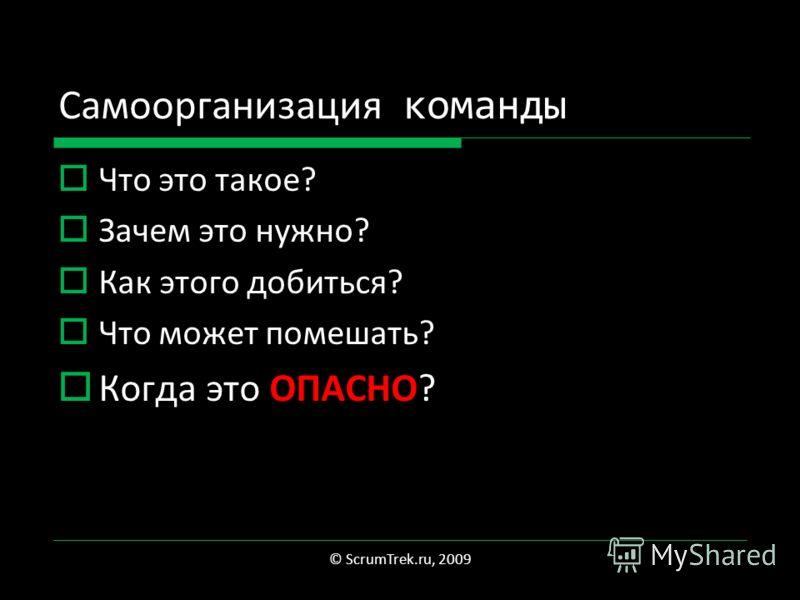 Самоорганизация команды Что это такое? Зачем это нужно? Как этого добиться? Что может помешать? Когда это ОПАСНО? © ScrumTrek.ru, 2009