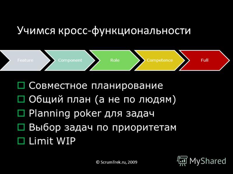 Учимся кросс-функциональности FeatureComponentRoleCompetenceFull © ScrumTrek.ru, 2009 Совместное планирование Общий план (а не по людям) Planning poker для задач Выбор задач по приоритетам Limit WIP