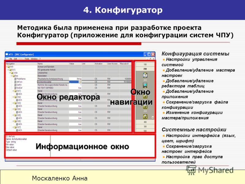 Москаленко Анна 4. Конфигуратор Окно редактора Информационное окно Информационное окно Окнонавигации Методика была применена при разработке проекта Конфигуратор (приложение для конфигурации систем ЧПУ) Конфигурация системы Настройки управления систем