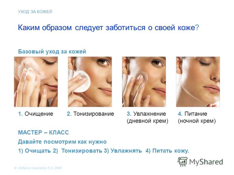 Каким образом следует заботиться о своей коже? Базовый уход за кожей 1. Очищение2. Тонизирование3. Увлажнение (дневной крем) 4. Питание (ночной крем) МАСТЕР – КЛАСС Давайте посмотрим как нужно 1) Очищать 2) Тонизировать 3) Увлажнять 4) Питать кожу. У