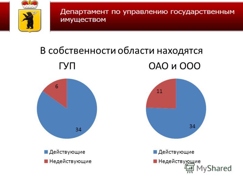 В собственности области находятся ГУП ОАО и ООО